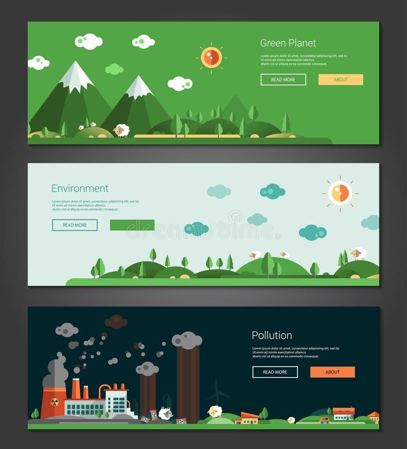 Projeto liso natural e bandeiras ecológicas das paisagens ajustadas ilustração do vetor
