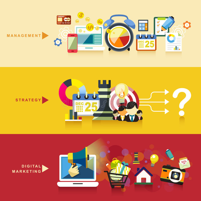 Projeto liso para a gestão, a estratégia e o mercado digital ilustração royalty free