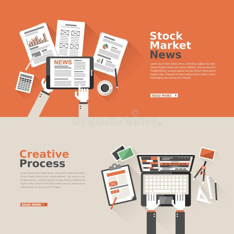 Projeto liso para o mercado de valores de ação e o processo criativo ilustração stock