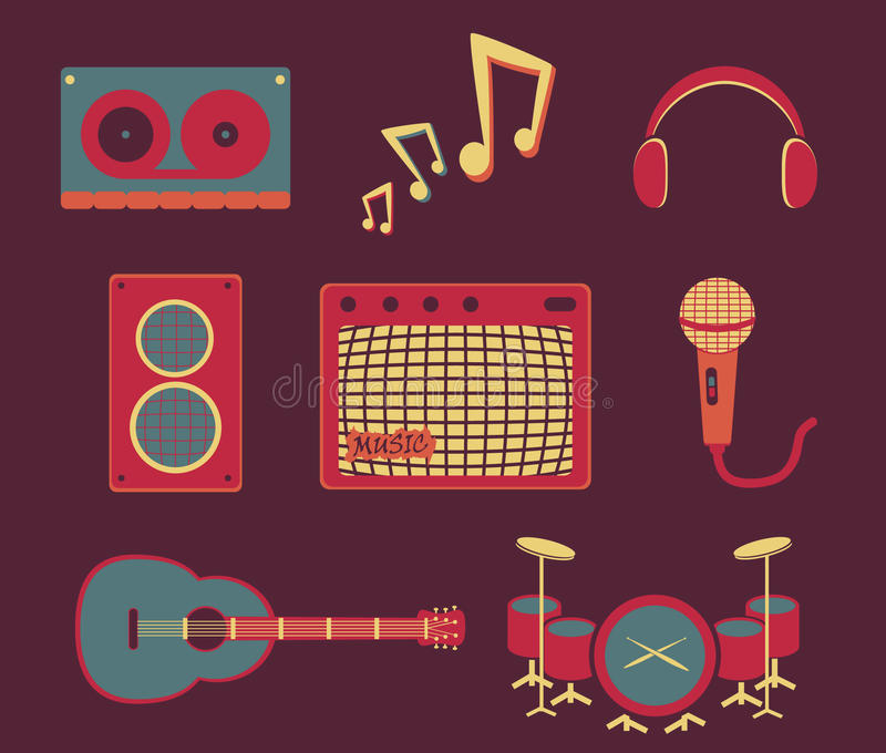 Projeto liso retro dos desenhos animados em um tema musical jogo ilustração do vetor