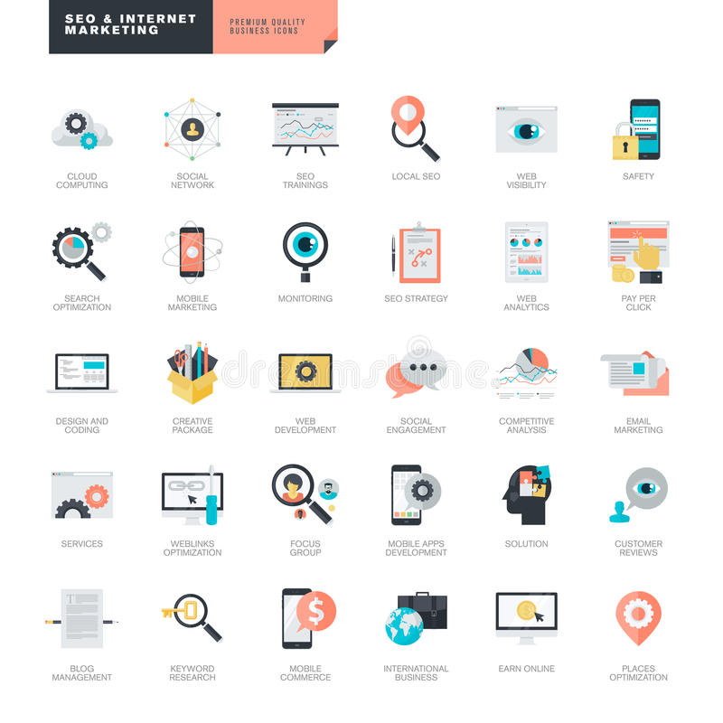 Projeto liso SEO e ícones do mercado do Internet para desenhistas do gráfico e da Web