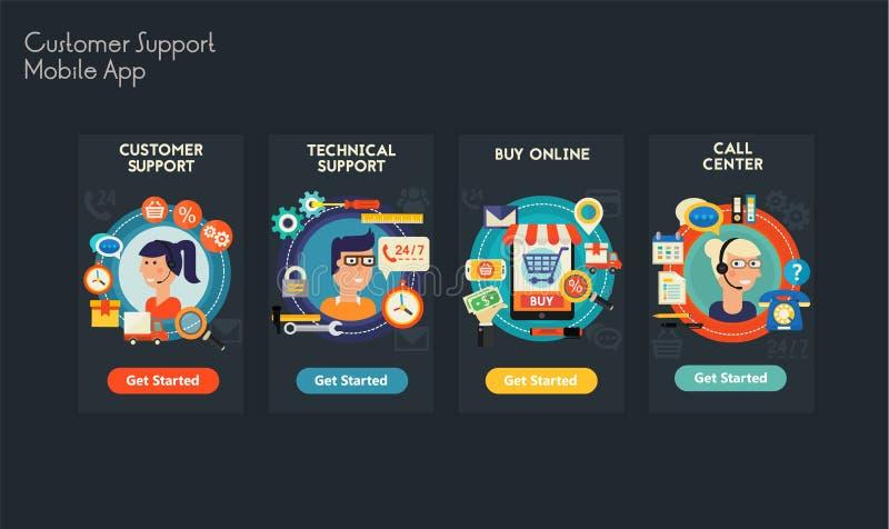 Projeto liso UI responsivo app móvel ilustração royalty free