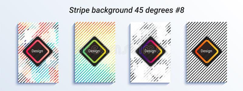 Projeto listrado mínimo do bakcground Inclinação de intervalo mínimo colorido Teste padrão geométrico brilhante Ilustração do vet ilustração stock