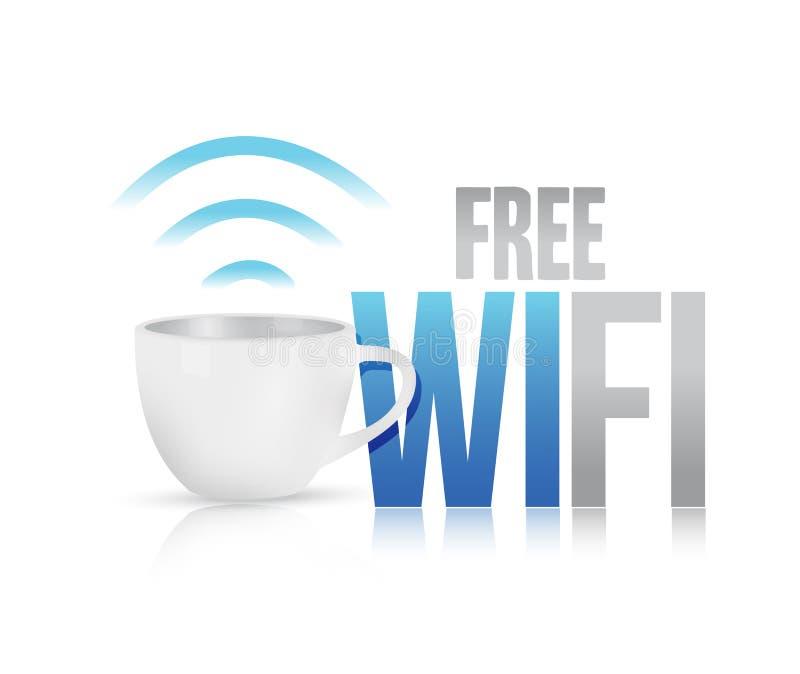 Projeto livre da ilustração do conceito da caneca de café do wifi ilustração do vetor