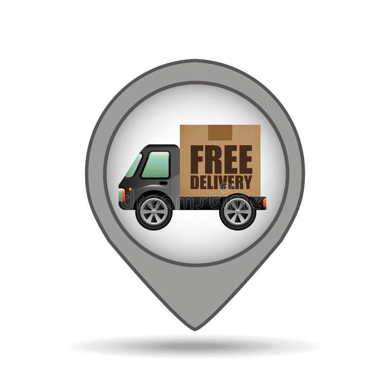Projeto livre do ponteiro do mapa do ícone da entrega do caminhão ilustração royalty free