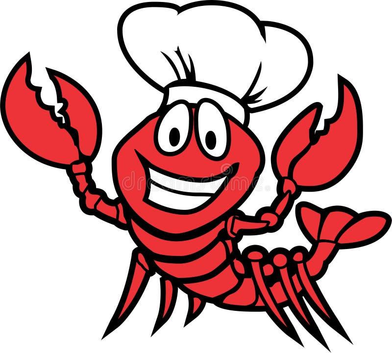 Projeto Logo Vetora dos desenhos animados do caráter da lagosta ilustração royalty free