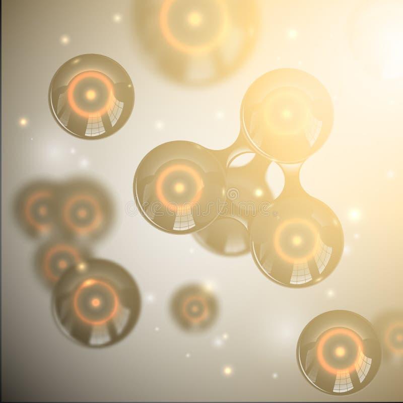 Projeto lustroso preto abstrato das moléculas do vetor Átomos com efeito da luz nuclear do alargamento das faíscas e da lente do  ilustração stock