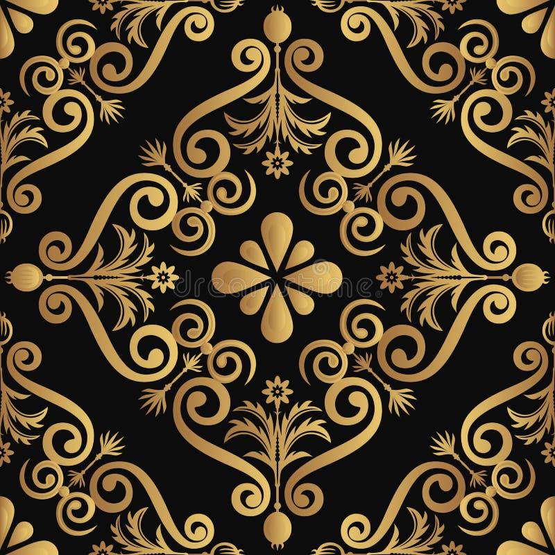 Projeto luxuoso decorativo do teste padrão, cor dourada no fundo preto ilustração royalty free