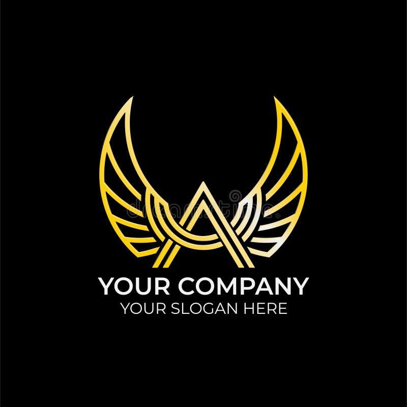 Projeto luxuoso do logotipo da asa ilustração royalty free