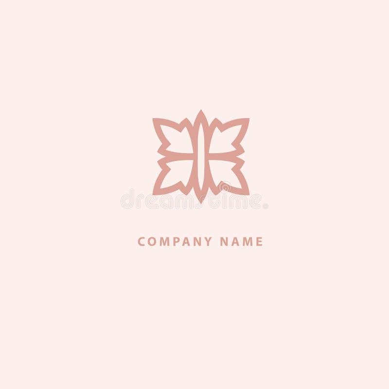 Projeto luxuoso do logotipo da flor do vetor Sinal floral ornamentado do casamento Elemento superior simples moderno do vetor do  ilustração royalty free