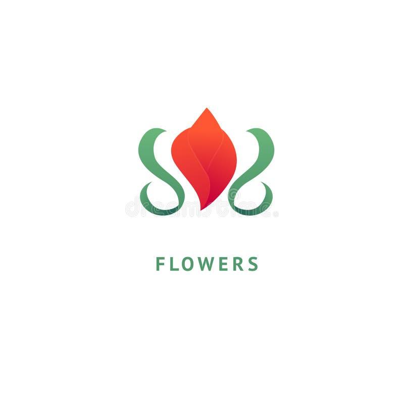 Projeto luxuoso do logotipo da flor do vetor Sinal floral ornamentado do casamento Elemento superior simples moderno do vetor do  ilustração stock