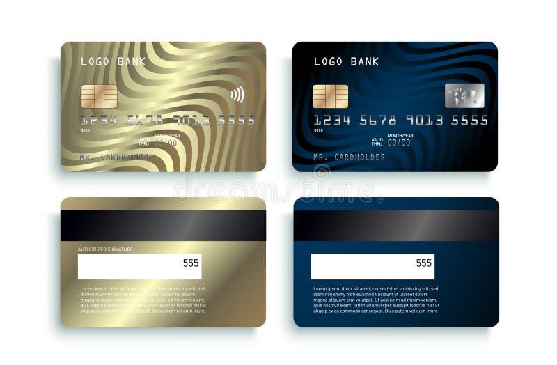 Projeto luxuoso do molde do cartão de crédito Modelo detalhado realístico dos cartões de crédito do ouro ilustração stock