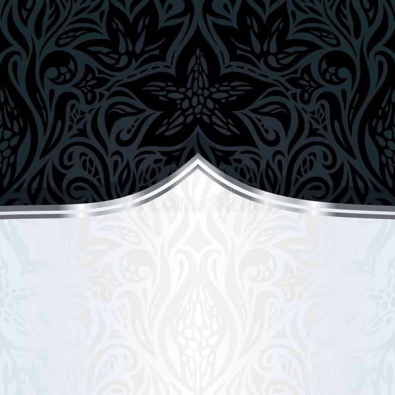 Projeto luxuoso floral de prata preto decorativo do fundo do papel de parede no estilo do vintage ilustração stock