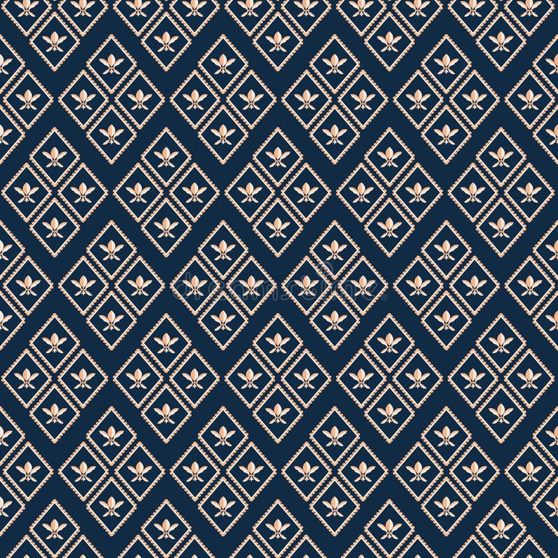 Projeto luxuoso geométrico de Fleur de Lys do ouro luxuoso Teste padrão sem emenda do vetor do rombo no fundo azul profundo perfe ilustração do vetor