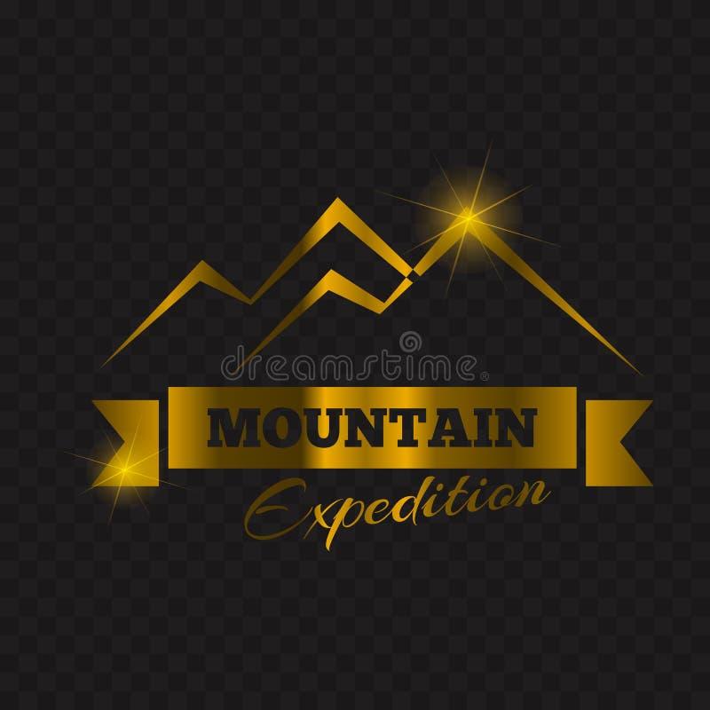 Projeto máximo dourado do emblema da montanha Ilustração do vetor do projeto da etiqueta da montanha do ouro ilustração stock