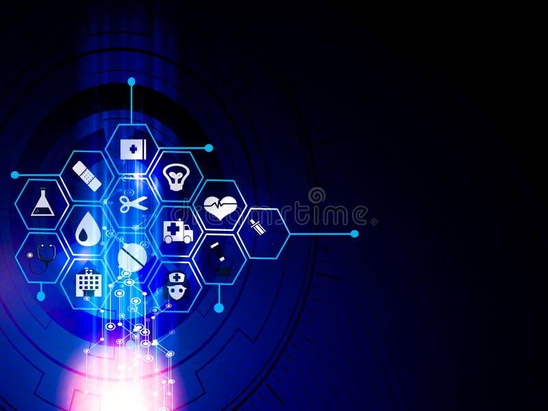 projeto médico do fundo do conceito da inovação do teste padrão do ícone dos cuidados médicos ilustração royalty free