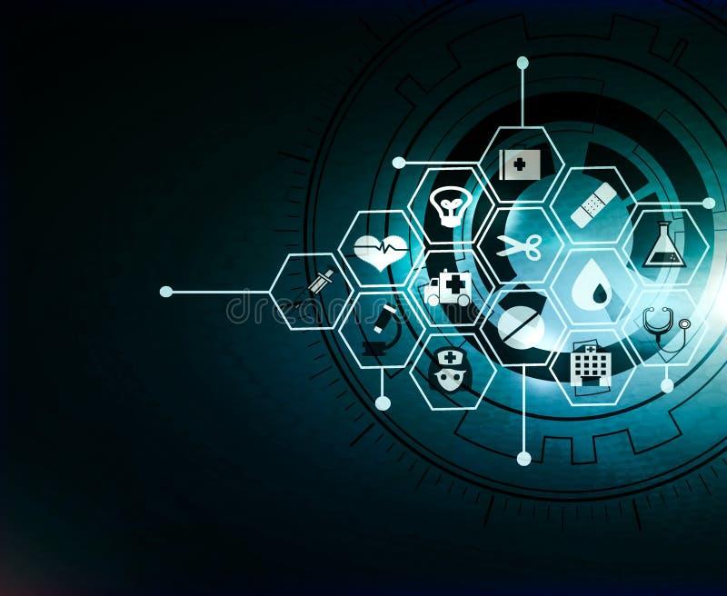 projeto médico do fundo do conceito da inovação do teste padrão do ícone dos cuidados médicos ilustração stock