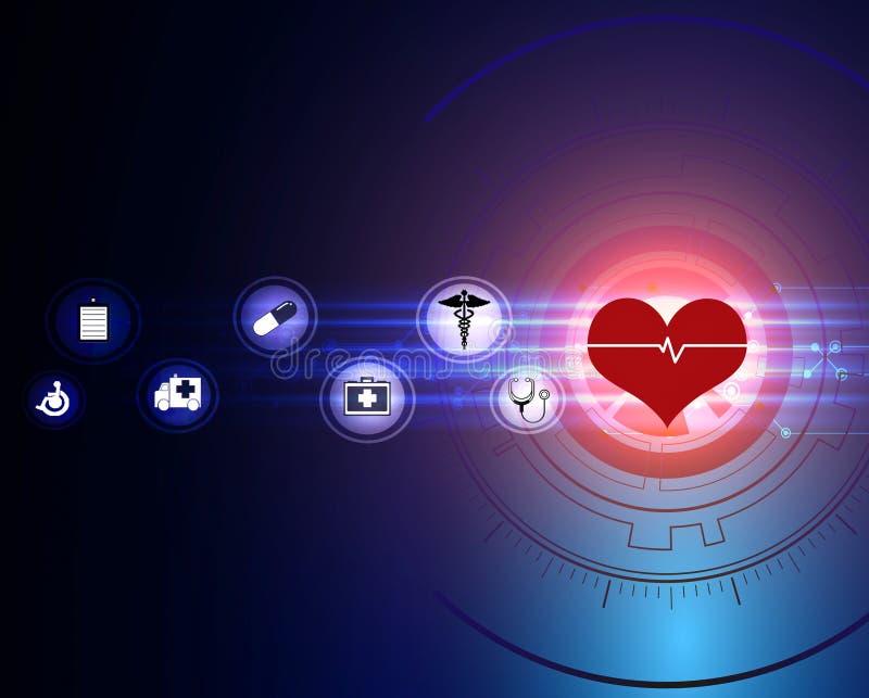 projeto médico do fundo do conceito da inovação do teste padrão do ícone dos cuidados médicos ilustração do vetor