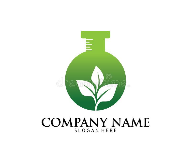 Projeto médico do logotipo do laboratório da farmácia da droga do cannabis da marijuana ilustração royalty free