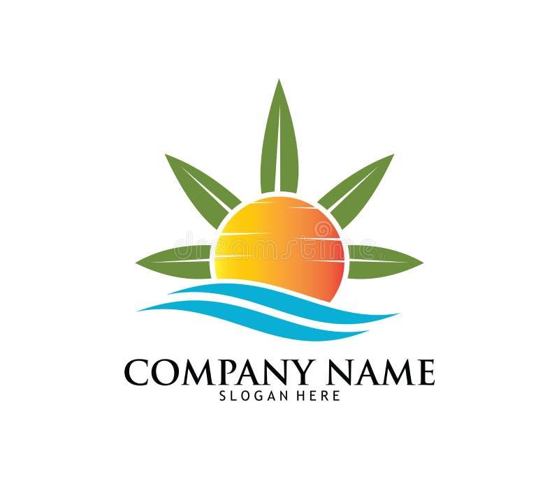 Projeto médico do logotipo do laboratório da farmácia da droga do cannabis da marijuana ilustração stock