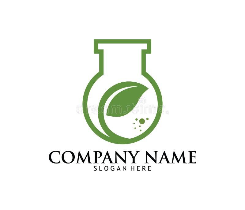 Projeto médico do logotipo do laboratório da farmácia da droga do cannabis da marijuana ilustração do vetor