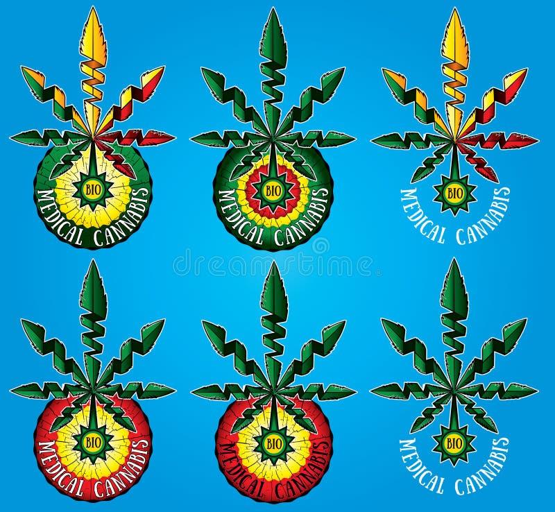 projeto médico do símbolo da folha da marijuana do cannabis fotos de stock royalty free