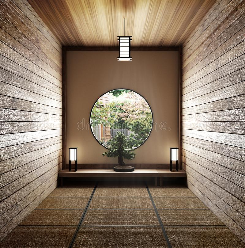 Projeto mínimo da sala com o assoalho da esteira de Tatami e o japonês, interior vazio da sala, rendição 3D ilustração stock