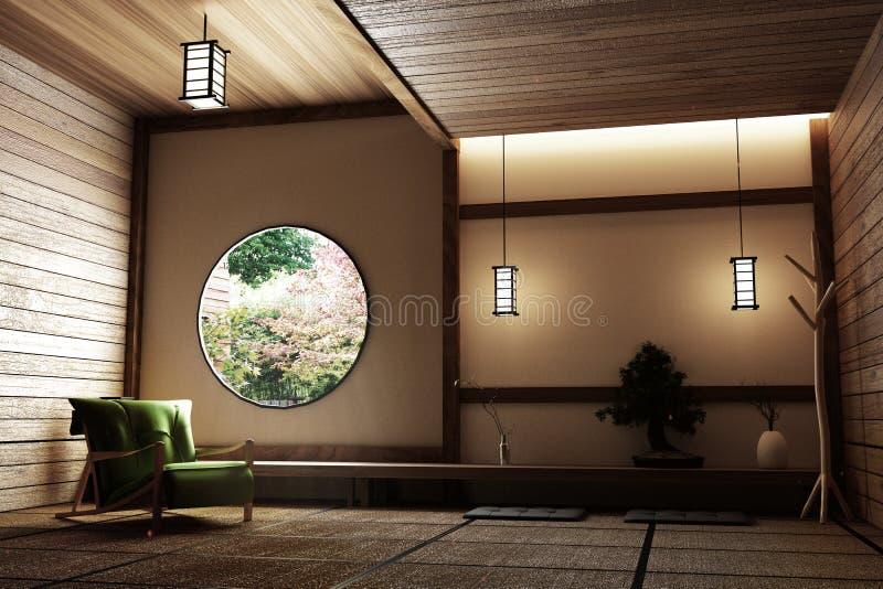 Projeto mínimo da sala com o assoalho da esteira de Tatami e o japonês, interior vazio da sala, rendição 3D ilustração do vetor