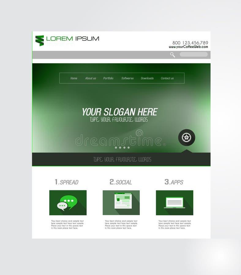 Projeto mínimo do Home Page do Web site com fundo do slider ilustração royalty free