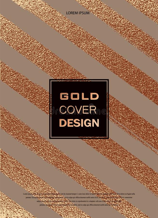 Projeto mínimo moderno e à moda Fundo lustroso de cobre Textura metálica Metal de bronze ilustração royalty free