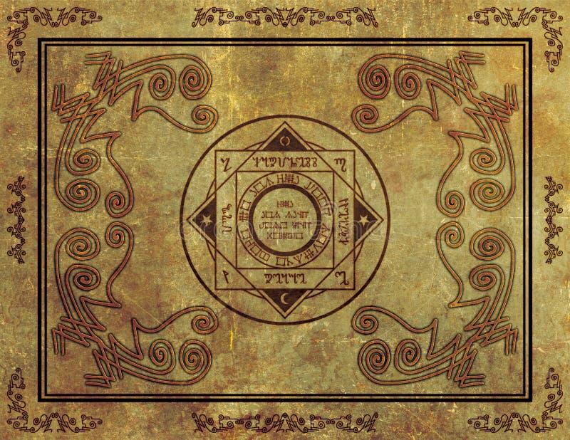 Projeto místico mágico do símbolo de Sigil no pergaminho ilustração stock