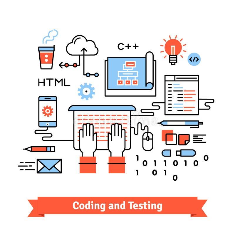 Projeto móvel da aplicação, conceito do processo de codificação ilustração stock
