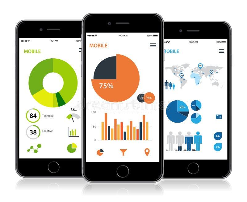 Projeto móvel das estatísticas de Infographic ilustração stock
