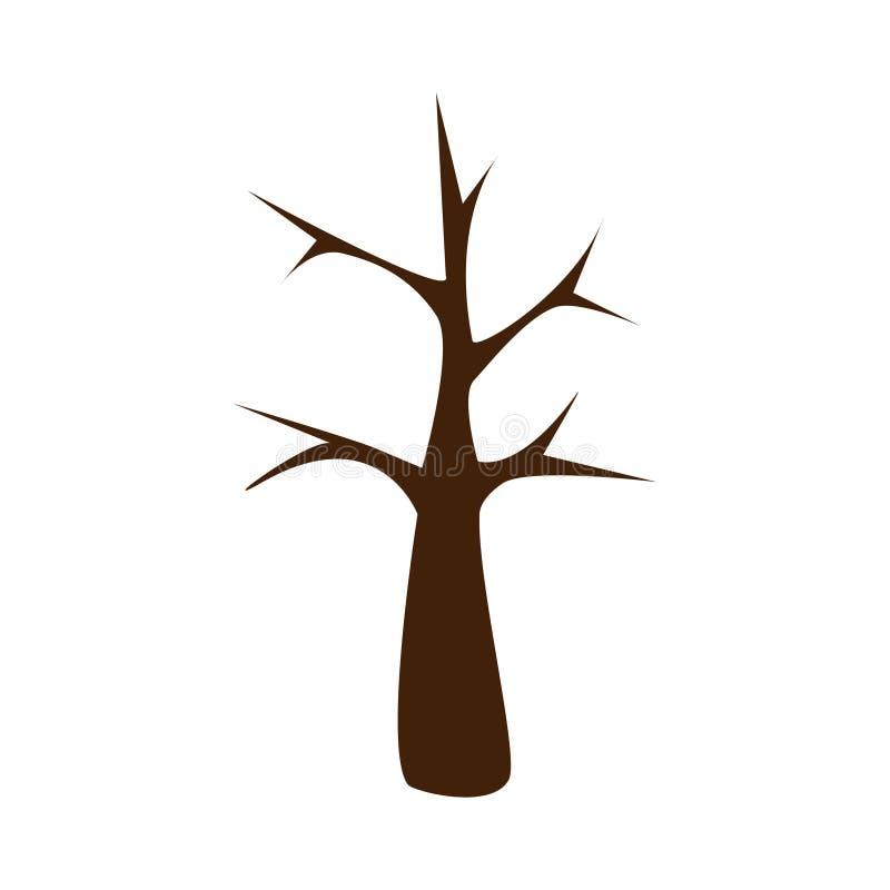 Projeto maravilhoso de um tronco do marrom escuro de uma árvore ilustração do vetor