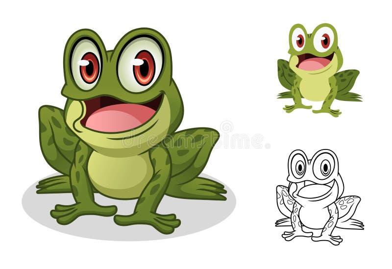 Projeto masculino da mascote do personagem de banda desenhada da rã ilustração royalty free
