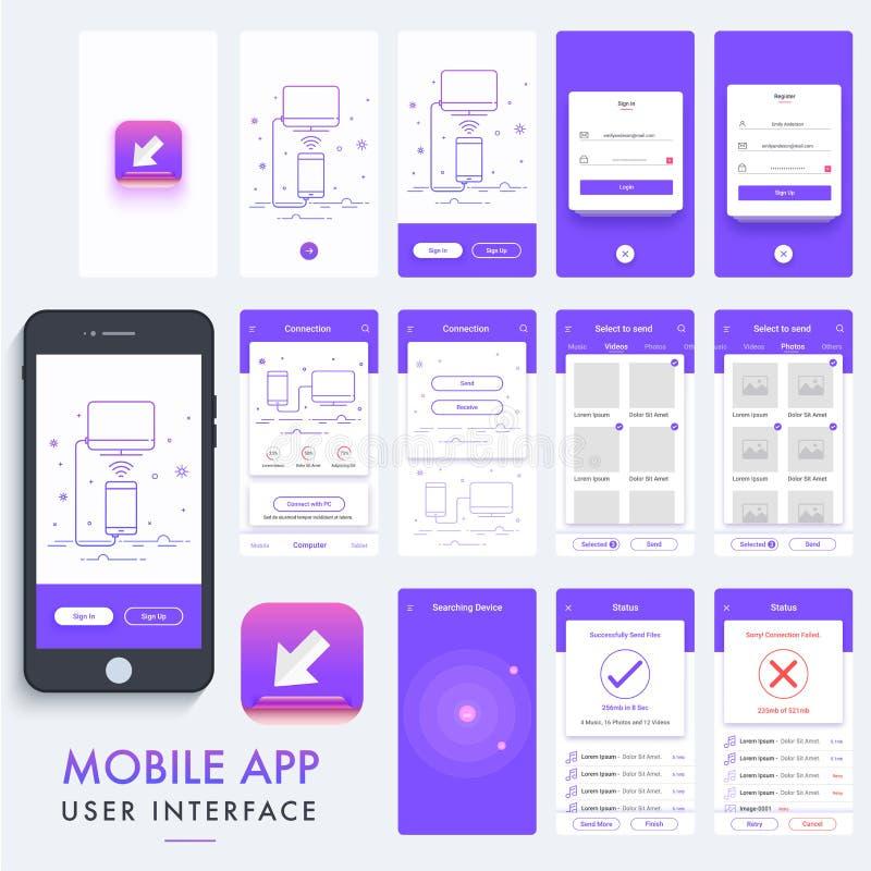 Projeto material móvel do App, UI, jogo de UX ilustração royalty free