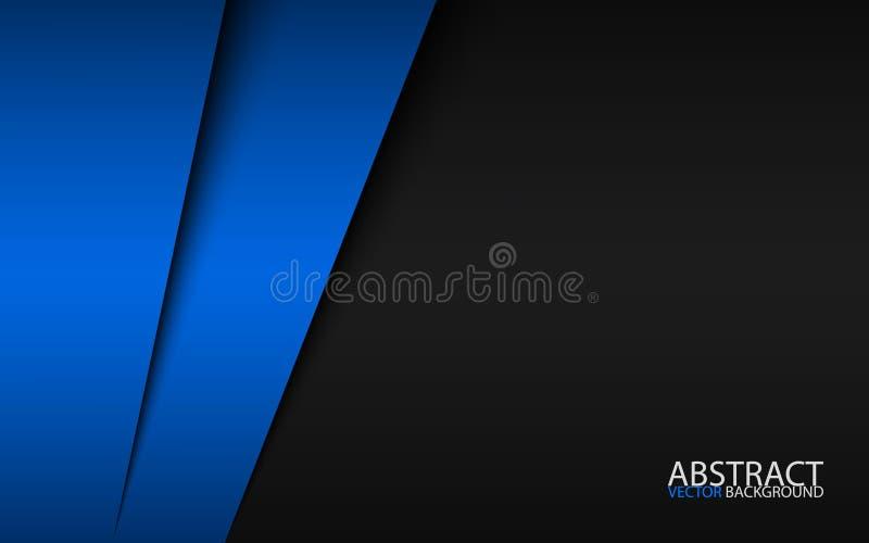 Projeto material moderno preto e azul, molde incorporado para seu negócio ilustração royalty free