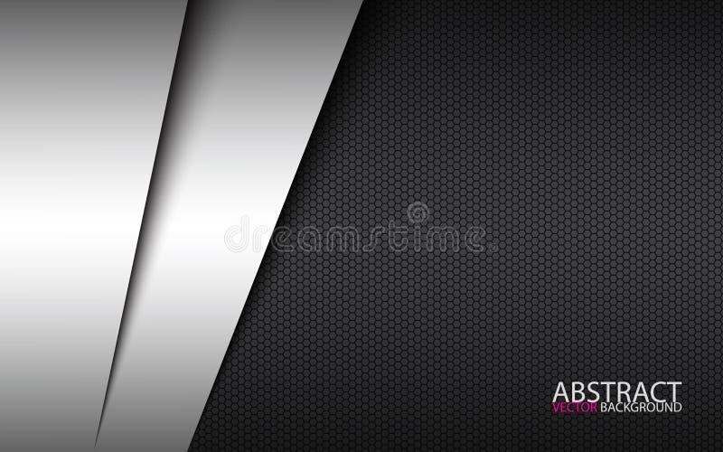 Projeto material moderno preto e branco com fundo do polígono, molde incorporado para seu negócio ilustração royalty free