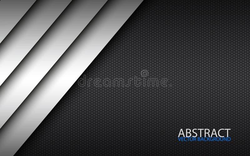 Projeto material moderno preto e branco com um teste padrão sextavado, molde incorporado para seu negócio ilustração stock