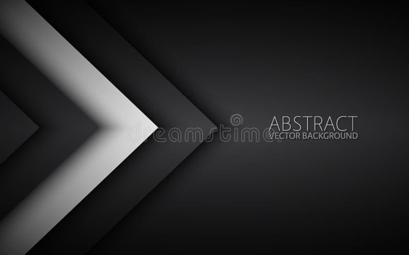 Projeto material moderno preto e branco com um teste padrão sextavado, molde incorporado para seu negócio ilustração royalty free
