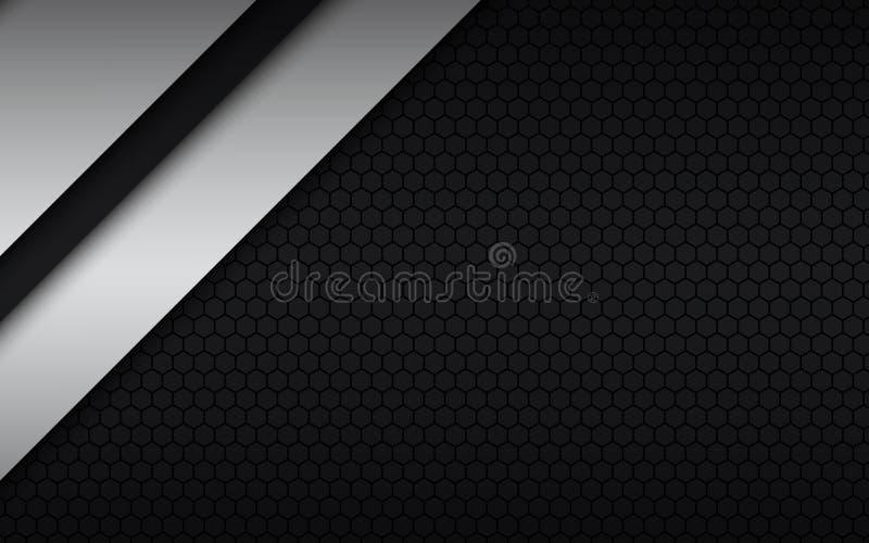 Projeto material moderno preto e branco com um teste padrão sextavado, molde incorporado para seu negócio ilustração do vetor