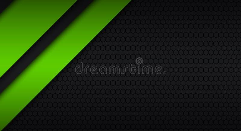 Projeto material moderno preto e verde com um teste padrão sextavado ilustração do vetor