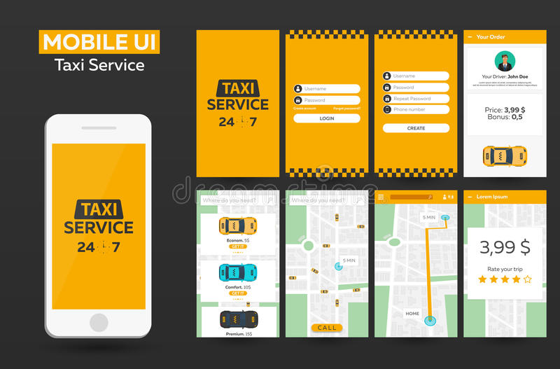 Projeto material UI do serviço móvel do táxi do app, UX, GUI Web site responsivo ilustração do vetor