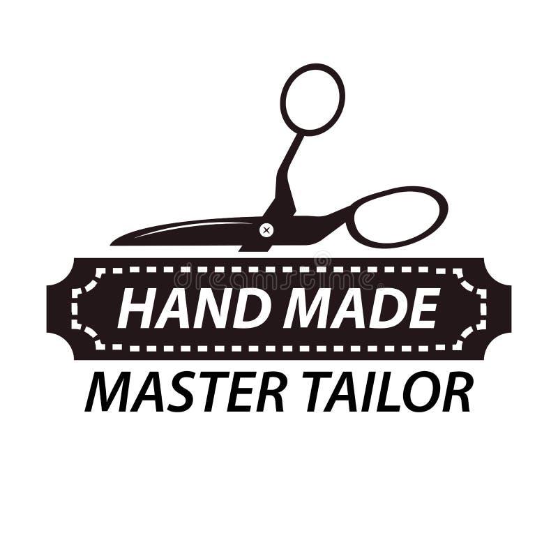 Projeto mestre feito à mão do logotype do alfaiate com tesouras Logotipo da oficina ilustração royalty free