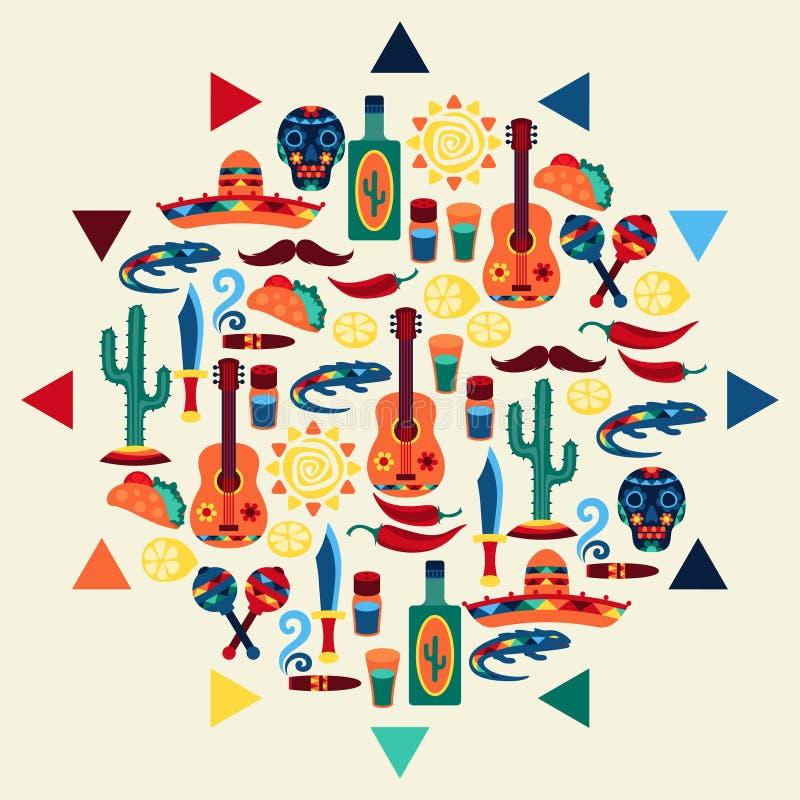 Projeto mexicano étnico do fundo no estilo nativo ilustração royalty free