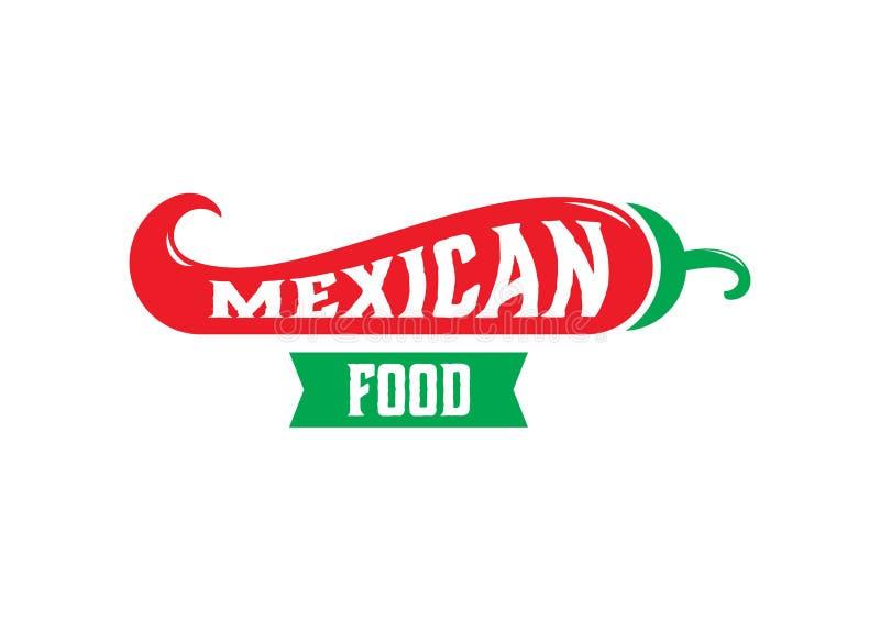 Projeto mexicano do logotipo do alimento com forma do pimentão ilustração royalty free