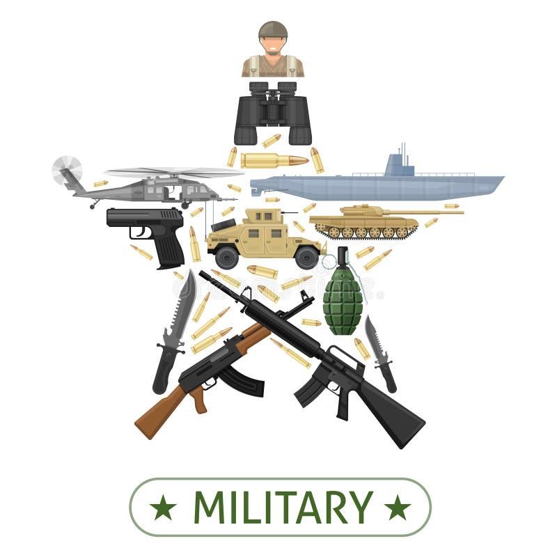 Projeto militar do equipamento ilustração royalty free