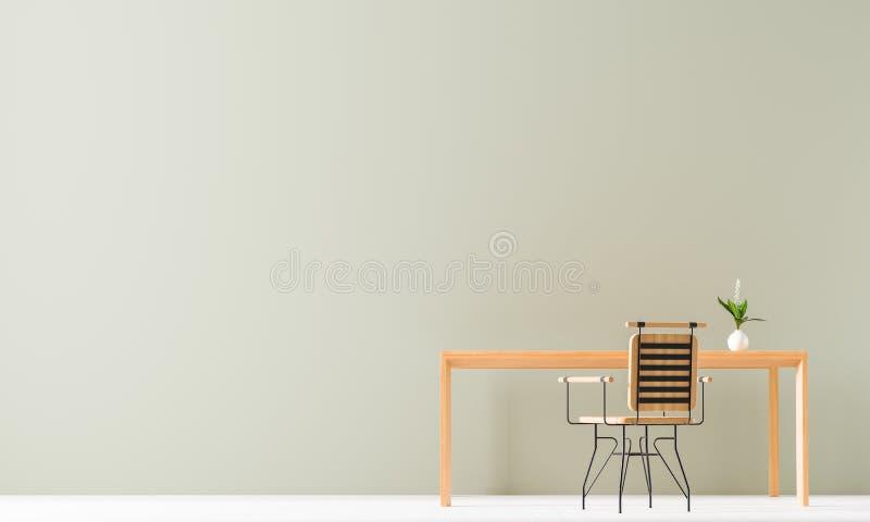 Projeto minimalista do espaço de trabalho com tabela e a cadeira de madeira Zombaria vazia da parede acima no conceito de design  ilustração royalty free