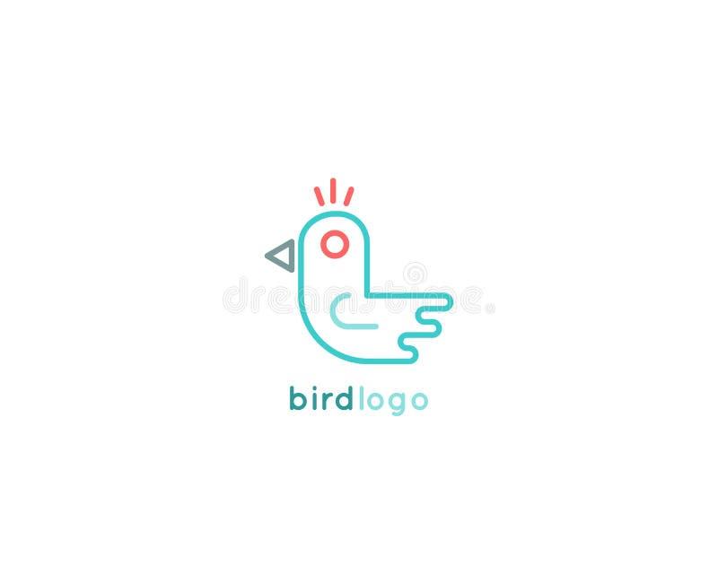 Projeto minimalistic do logotipo do pássaro ilustração royalty free