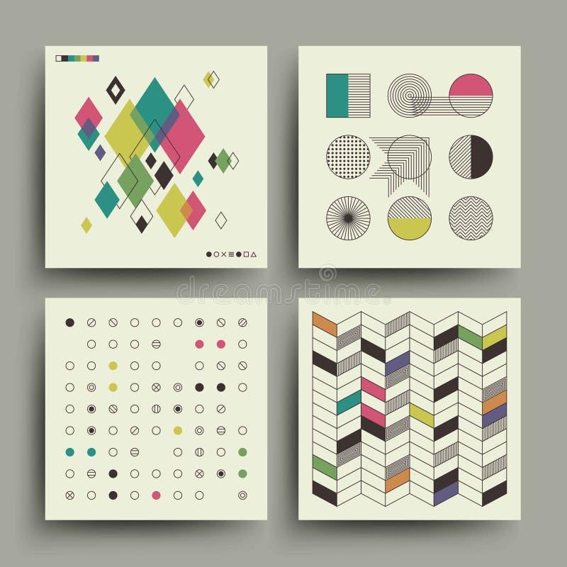 Projeto minimalistic do vetor da música na moda suíça do estilo do modernismo 2d para as tampas, os cartazes, os cartazes, os ins ilustração stock